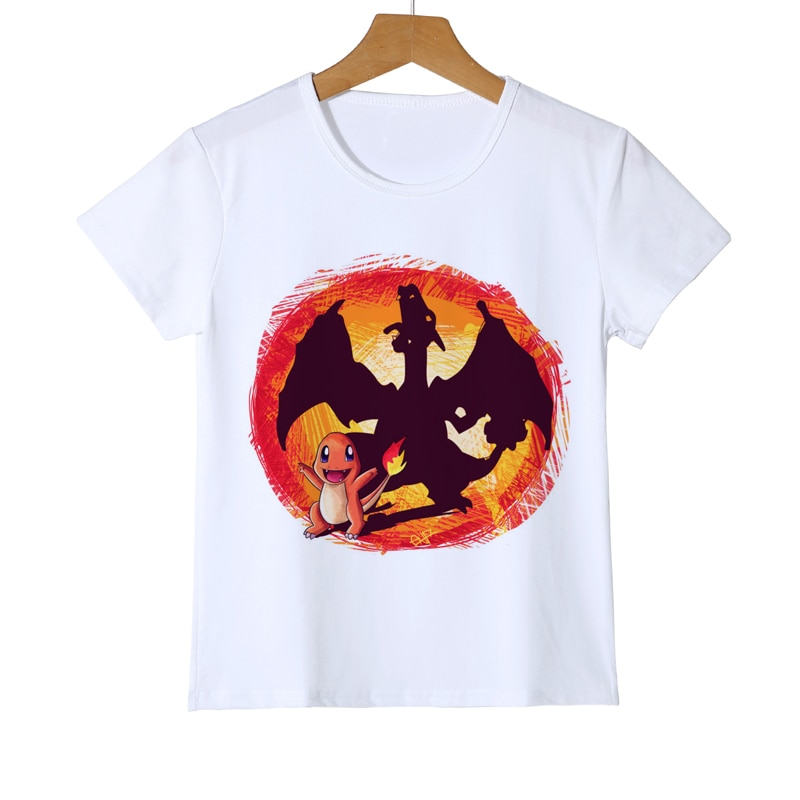 T-shirt boule de Pokemon enfant garçon   Dessin animé, petit Dragon de feu, Pokemon Ball, vêtements de la terre, YUDIE