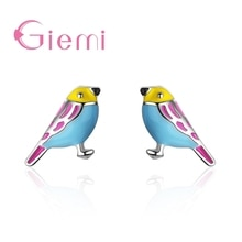 Unique Colorful Parrot Stud Earrings For Women Female Hot Selling Best 925 Sterling Silver Present A