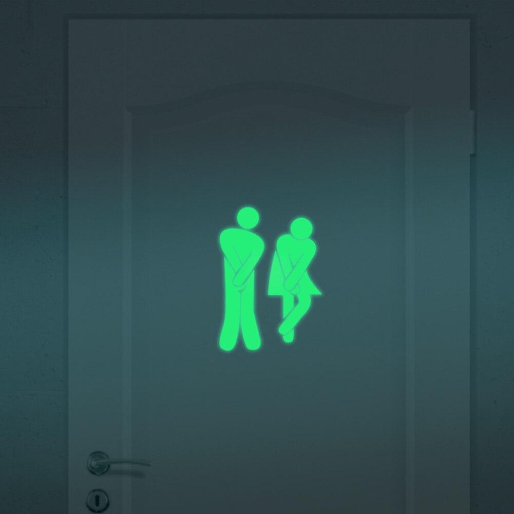 Luminosa Parede WC Wc Etiqueta Glow In the Dark Fluorescente cartaz Sinal Da Porta À Prova D' Água Do Banheiro Adesivos Wc Adesivos