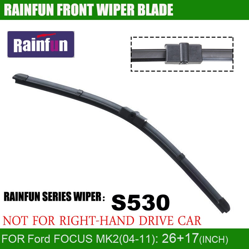 2 pçs/lote MK2 RAINFUN dedicado lâmina de limpeza do carro para Ford FOCUS (04-11), borracha Natural Car Wiper auto limpador de parabrisas