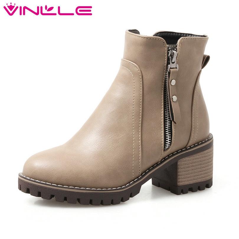 VINLLE 2020 Women Boots Elegant Ankle Boots Square Med Heel Round Toe  Rivet Zipper Ladies Motorcycle Shoes Size 34-43