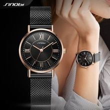 SINOBI Fashion Women's Quartz Wrist Watches Mesh Watchband Top Luxury Brand Watch Crystal Clock Ladies Wristwatch reloj mujer 19