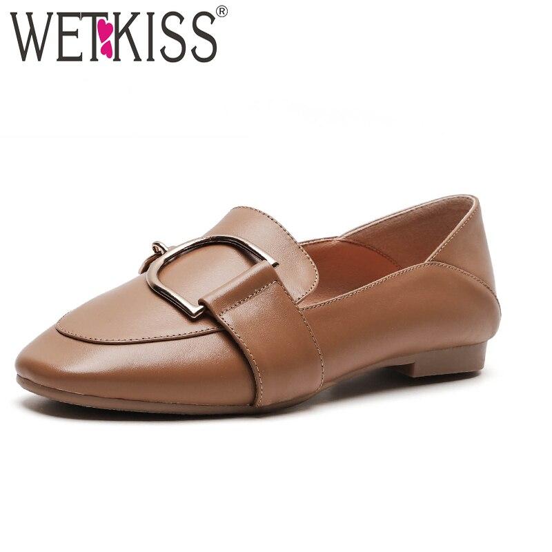 WETKISS, zapatos de moda informales para mujer, zapatos planos con punta cuadrada, zapatos de cuero de vaca para mujer, mocasines de primavera, zapatos para mujer, negro