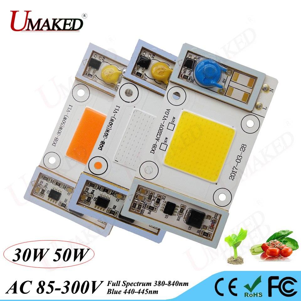 2 pcs chips de led cresce a luz do grânulo espectro 380-840nm e 440nm azul ac85-265v sem necessidade de driver para hidroponia, plantas de interior
