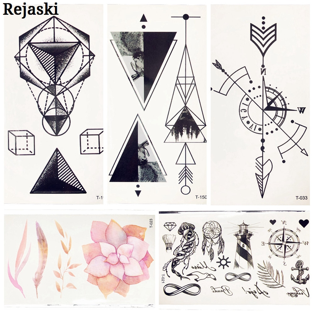 Black Triangle Temporary Tattoo Stickers WOmen Kids Fake Flash Tattoo Decals Men Body Geometric Arm Tatoos 10.5x6CM