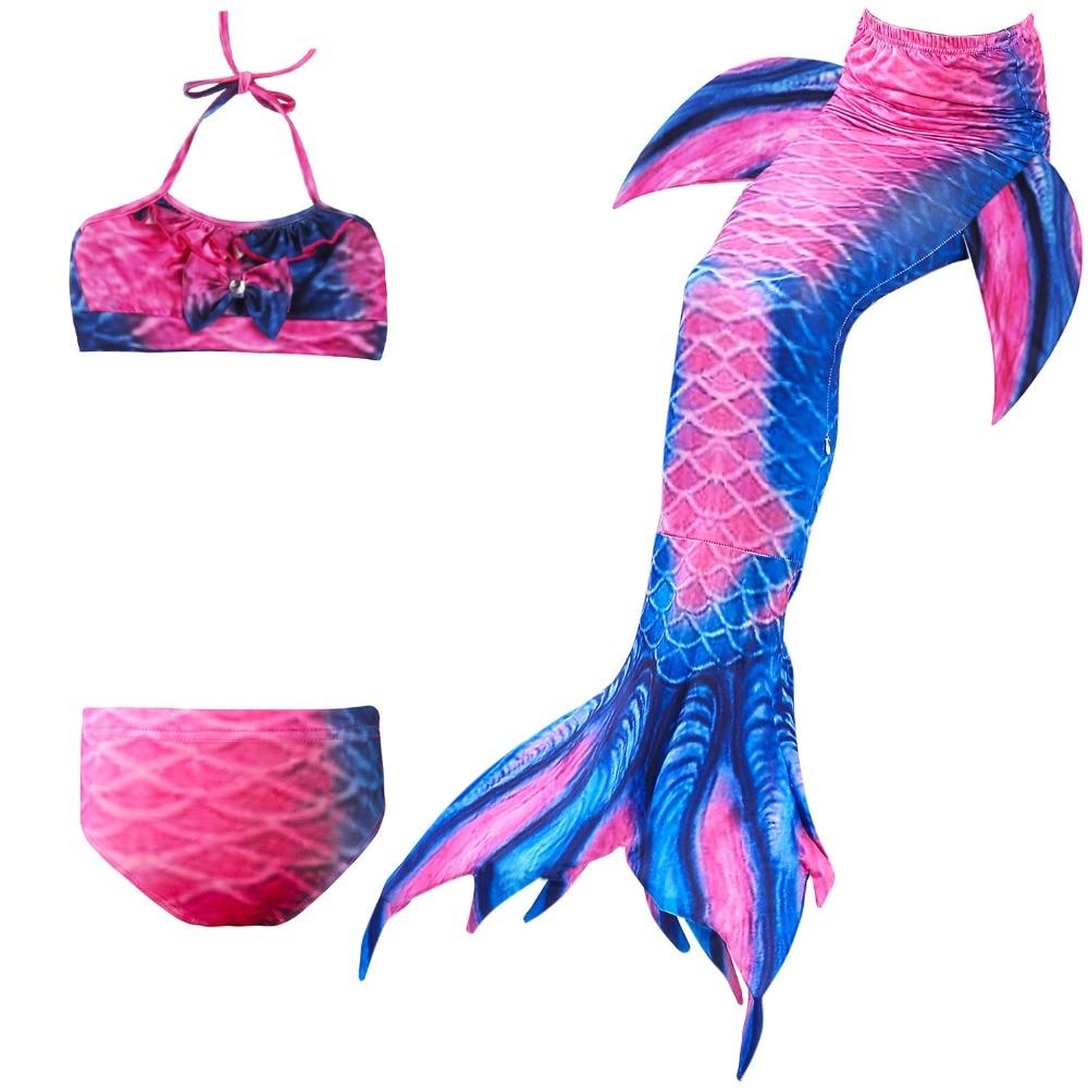 4 piezas/11 colores niñas traje de baño natación sirena cola Niños Ariel sirena disfraz niños traje de baño Cosplay No monofina