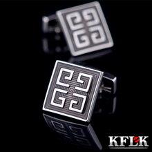 KFLK bijoux chemise bouton de manchette pour hommes marque bouton de manchette émail gris bouton de manchette haute qualité abotoaduras bijoux