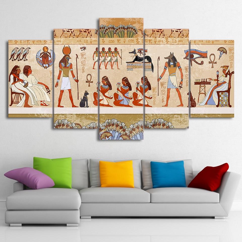 Cuadros de 5 piezas de arte de lona impresos en HD, cuadros de pared egipcios, póster Modular de dinastía antigua, decoración del hogar, Envío Gratis, sin marco