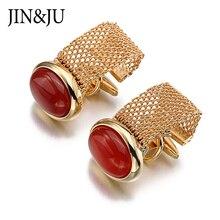 Gemelos de cadena de 3 colores de lujo JIN & JU, Gemelos para camisa de hombre, Gemelos de piedra elíptica de gran calidad