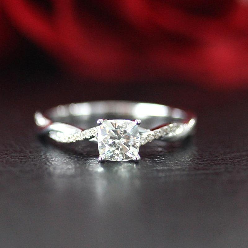 Nupcial do Casamento Anel 0.6ct Moissanite carat 5mm Cushion Cut Anel de Noivado 14 K Ouro Branco Para As Mulheres