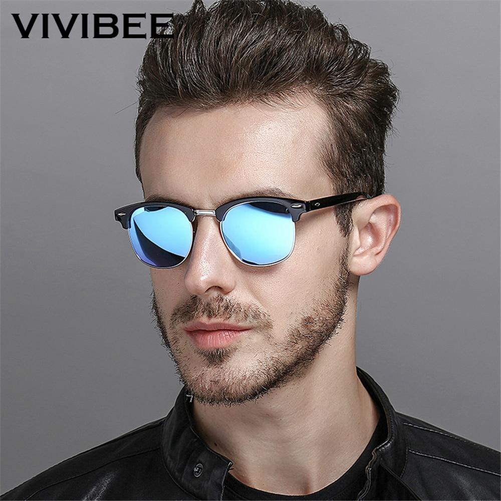 VIVIBEE Classical Square Men Sunglasses Woman Sun Glasses Polarized Man Blue Mirror Lens Driver Top
