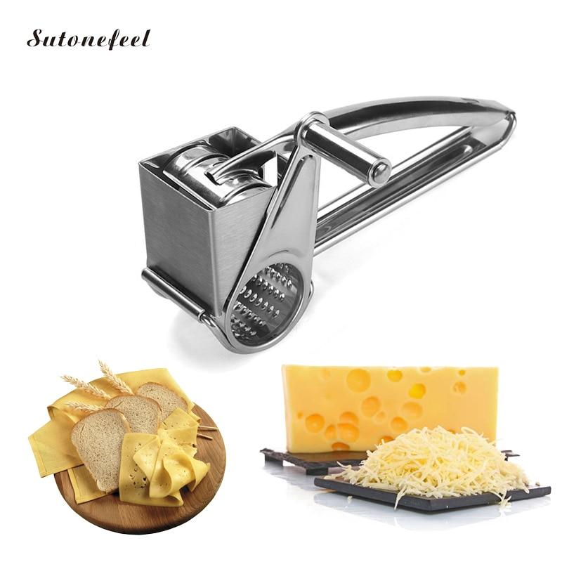 Rallador rotatorio para queso, triturador de queso de acero inoxidable, rebanadoras de queso multifunción, molinillo de ajo, herramienta de cocina para queso