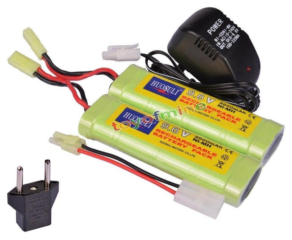 2x9,6 V NiMH 2800mAh Paquete de batería + cargador RC Airsoft