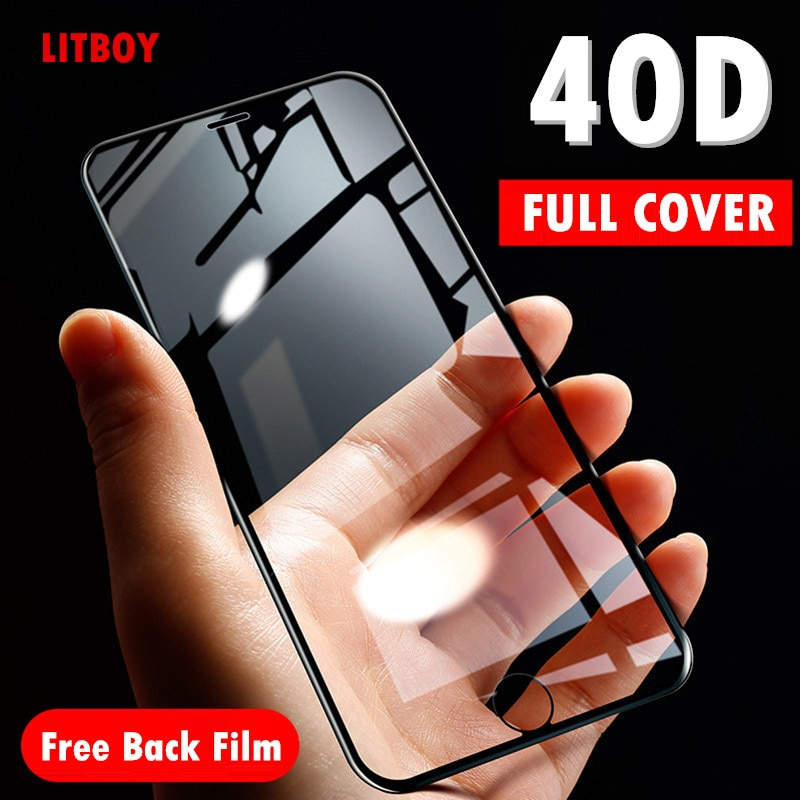Vidrio Protector curvado blando 40D para iPhone 7 6 6S 8 Plus X Protector de pantalla templado para iPhone X XR XS Max 7 6 película de vidrio
