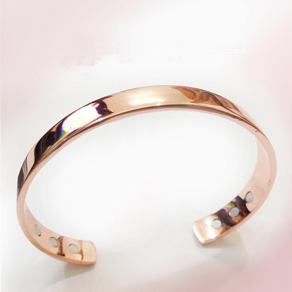 Reines Kupfer Magnet Energie Gesundheit Öffnen Armreif Vergoldet Farbe Einfache Armband Bio Gesunde Healing Armband Tropfen Verschiffen