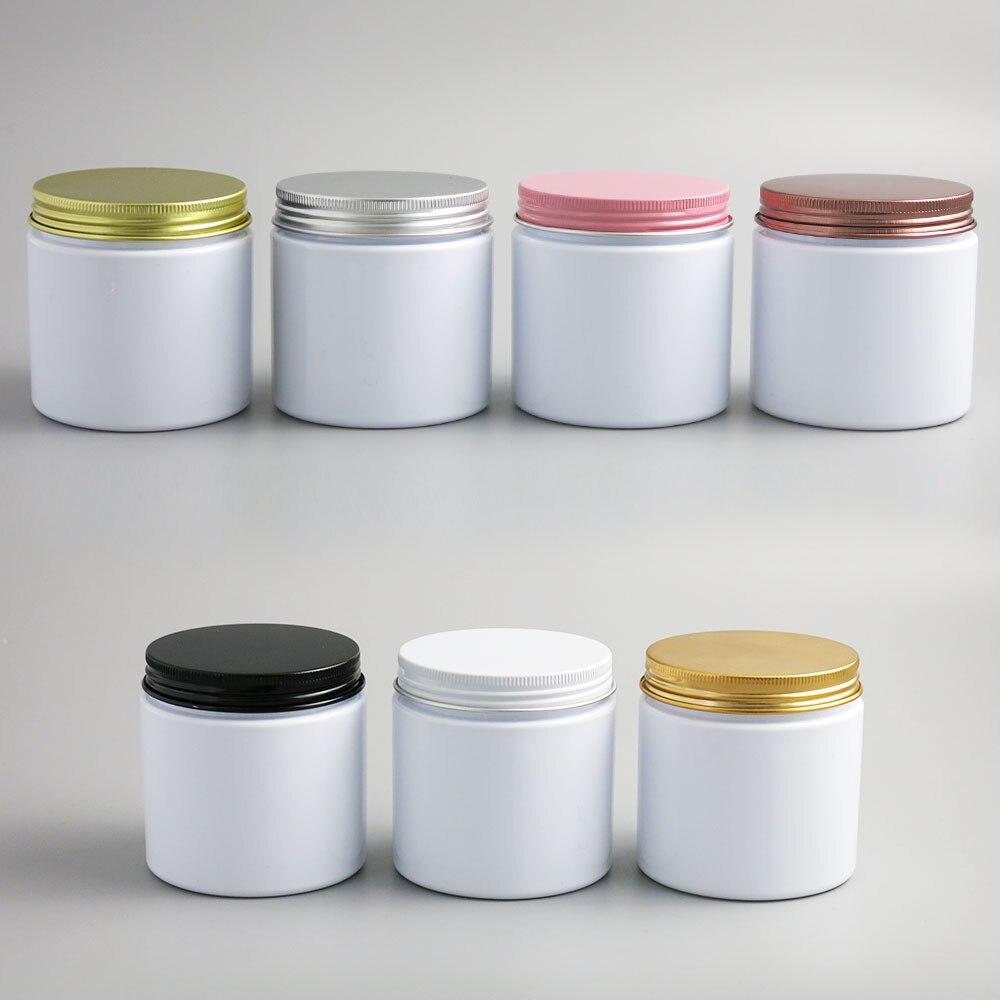 24x200g فارغة بيضاء مستحضرات التجميل عبوات كريم جرار للكريم 200cc 200 مللي لمستحضرات التجميل التعبئة والتغليف الزجاجات البلاستيكية مع أغطية معدنية