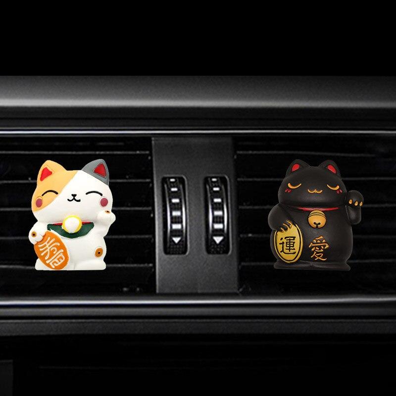 Ambientador de aire para coche de gato y dinero, Clip de perfume para Interior de automóvil, adornos de decoración de fragancia, accesorios para coche
