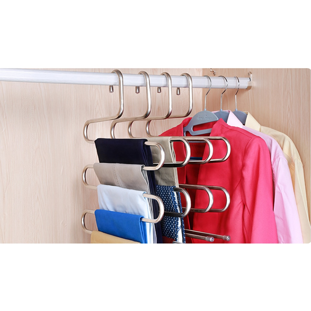 E-doo Pants Hanger, S-type Multi-Purpose Closet Hanger with 5 Layers Stainless Steel Trousers Rack for Hanging Jeans, Trouser