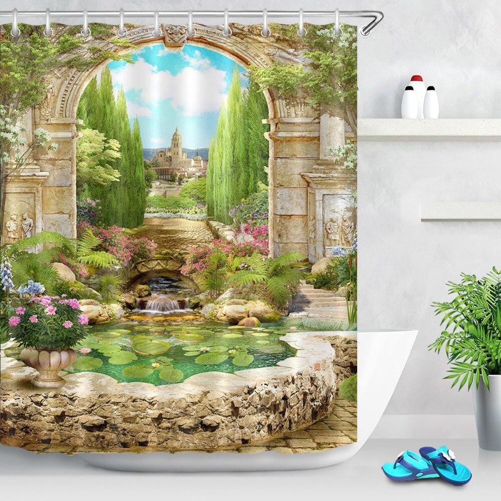 Arco italiano antiguo LB con flores cerca del lago cortinas de ducha escénicas cortina de baño tela impermeable para la decoración del hogar de la bañera