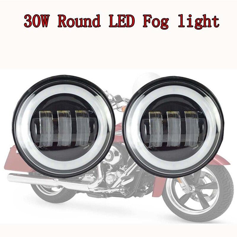 4-1/2 4,5 дюймов Halo Кольцо светодиодный туман светильник фары ближнего света для Harley Touring Electra Road Glide Heritage Softail Road King Street Glide