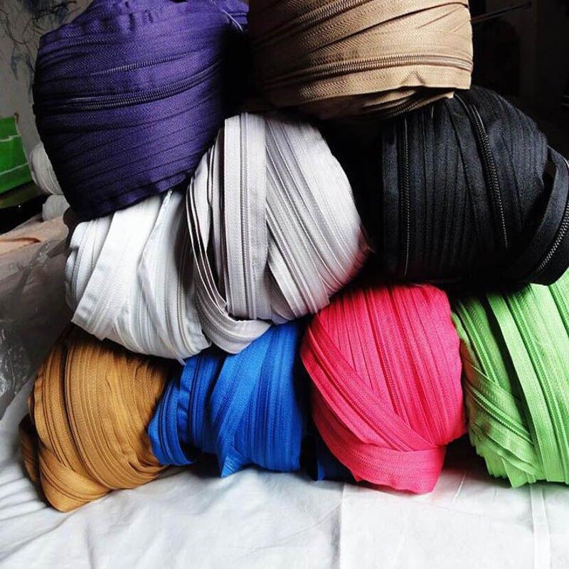 5 metros/lote 3 # negro blanco Beige rojo Nylon cremalleras de bobina para costura DIY textiles para el hogar Accesorios de sastre con 5 piezas de deslizadores