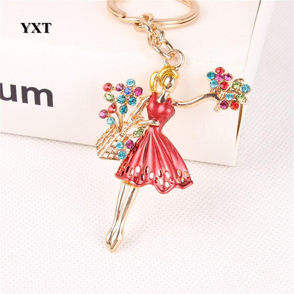 Nueva moda vestido de Ballet para niña flores cristal encanto monedero bolso coche llavero cadena fiesta boda creativa amante regalo Accesorios