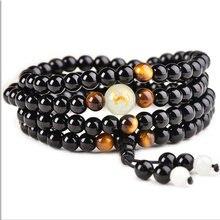 Moda obsidian braceletes com contas luminosas lendárias zodíaco animal mulher homem pedra grânulo pulseira pode brilhar presentes para os amantes