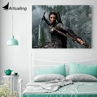 1 piece poster canvas painting game skyrim girl sword hd printed home decor wall pictures for living room xa1664c