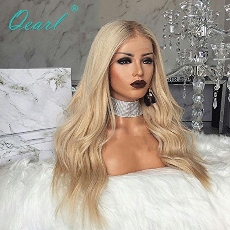 Парики из натуральных волос Qearl, волнистые, с прозрачным шнурком, 8-24 дюйма