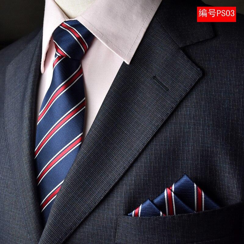 NINIRUSI 8 CM Men's Classic 100% Silk Blue Tie Set (Ties Handkerchief) Stripe Pocket Square Neck Tie Party Business Wedding Neck