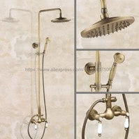 antique brass wall mount 8 inch bathroom shower faucet mixer taps dual handle with hand held shower nan113