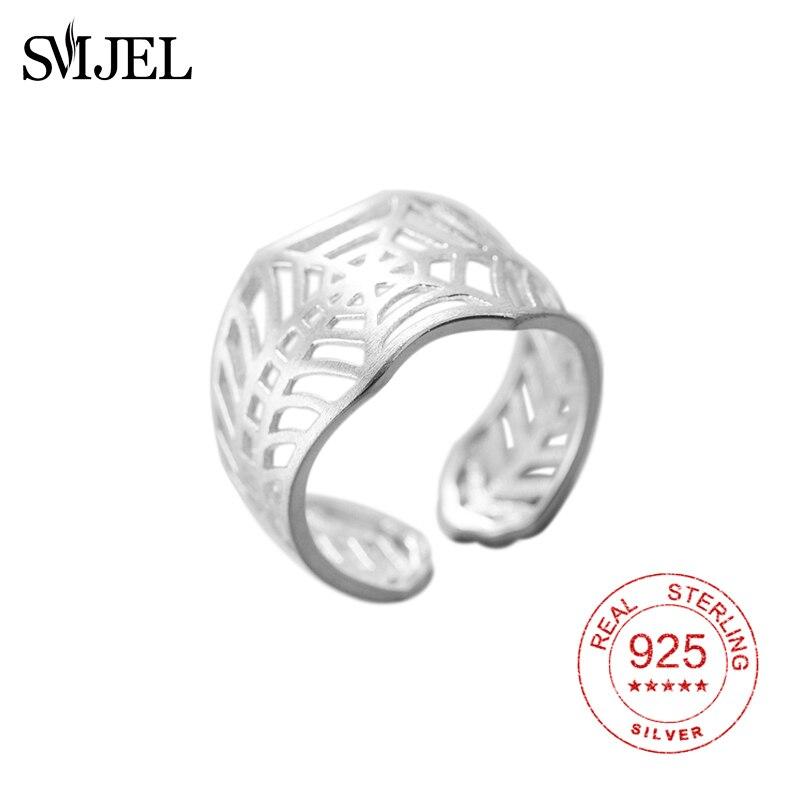 SMJEL, Plata de Ley 925, anillos de tela de araña grandes para mujer, anillos y joyería de plata Vintage de tela de araña de Spiderman