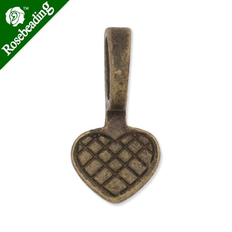 10.5x21mm High Quality antique bronze plated heart shape glue On Bails Charm/Pendant,sold 50pcs/lot-C3717