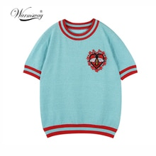 Warmsway Abeille Motif Fleurs Appliques Lurex Top en tricot T-shirt Pulls Tricots Haut Dété 2020 Conception vêtements B-103