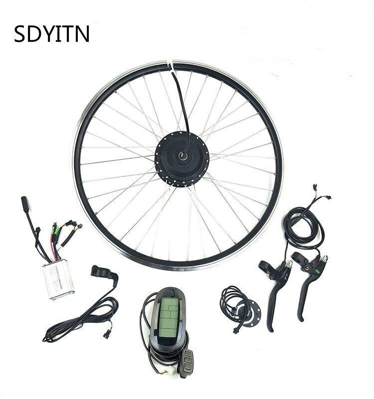 SDYITN 24V250W Kit de conversión Ebike con LCD6 Dispiay eléctrico bicicleta frente a cambio de buje sin escobillas Motor