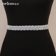 TOPQUEEN-Cinturón de diamantes de imitación S216 para mujer, cinturón hecho a mano para vestidos de novia, cinturones de Ribbion para boda, faja para novia, cinturón de fiesta