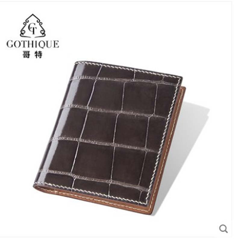 gete Imported crocodile leather wallet men's shorts alligator belly handmade men's leather thin vertical wallet
