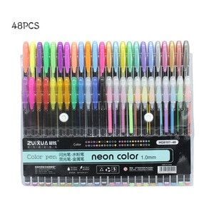 24/36/48 Colors 1.0mm Gel Pens Set For Metallic/Pastel Neon For Glitter Sketch Drawing Color Pen Manga Markers School Stationery