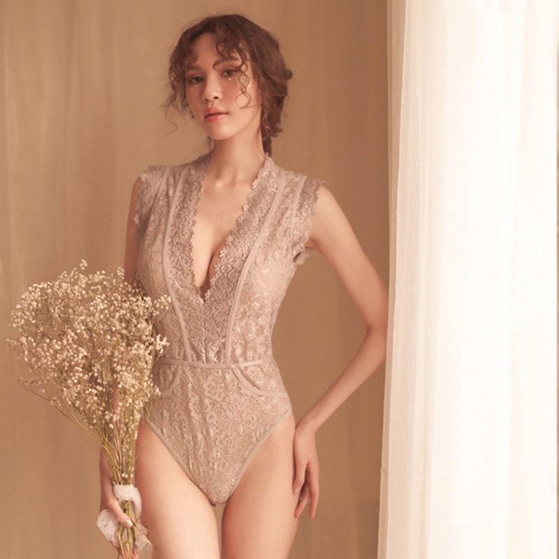 Yhotmeng new woman sexy lace perspective deep V lace shoulder underwear one-piece pajamas sleepwear