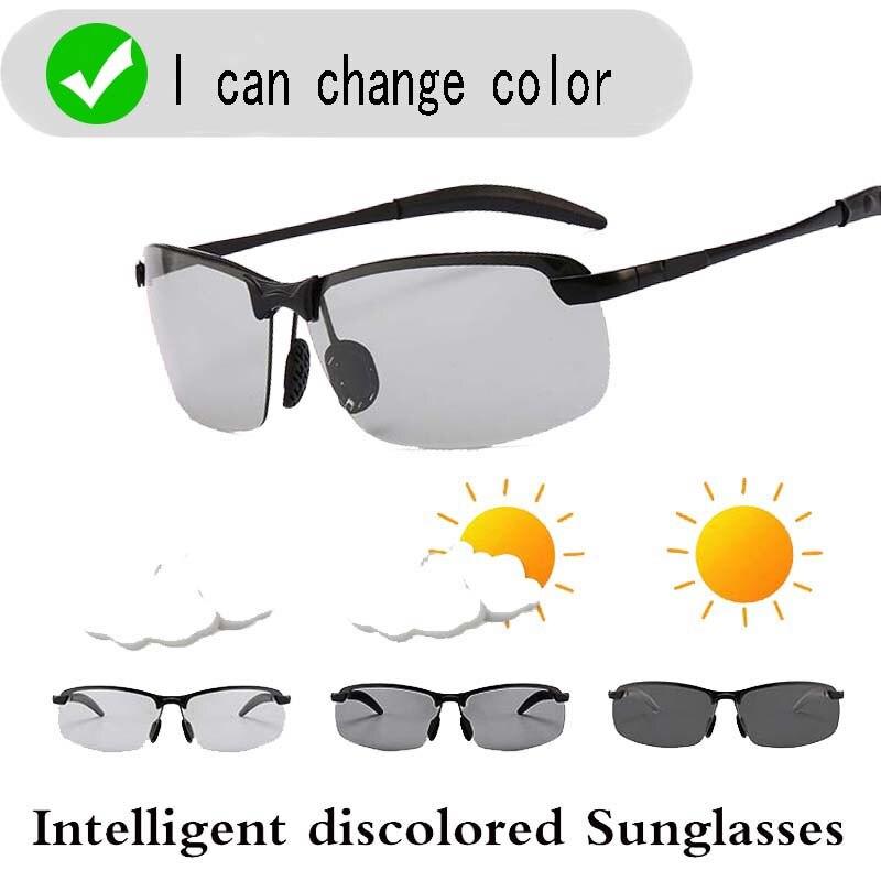 Gafas de sol fotocromáticas inteligentes, espejo de conducción cuadrado de moda Retro polarizado para hombres