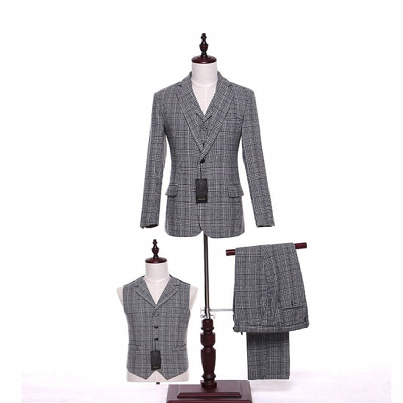 Gris a cuadros a rayas hombres traje de boda novio novia novio smoking negocios traje Formal (chaqueta + Pantalones + chaleco) por encargo