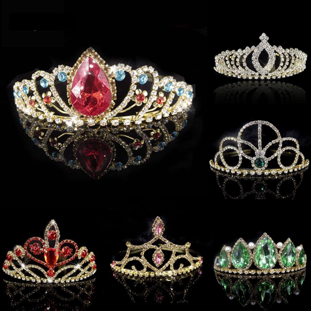 Tiaras y coronas de Color dorado, corona de boda, diadema de diamantes de imitación de cristal, accesorios para el cabello para fiesta de graduación de chico princesa nupcial