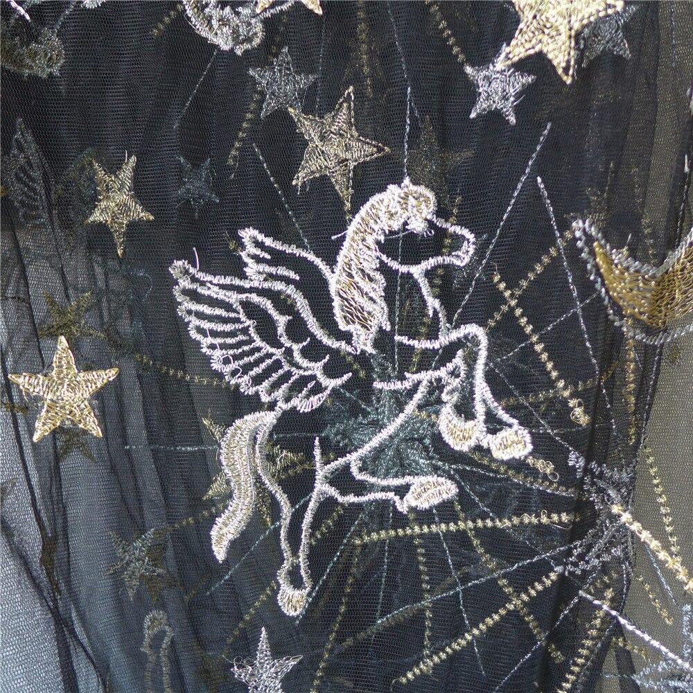 Tejido de encaje bordado de estrellas caballo Luna tul con hilo azul marino champán Color negro tejido de encaje para faldas 1 yarda