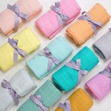 Muslinife-Manta de algodón de bambú suave para bebé, manta envolvente para bebé, manta de muselina de tinte liso, accesorios para recién nacidos