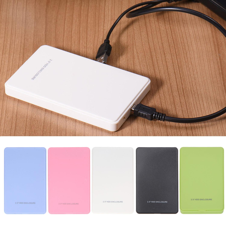 Caja de 2,5 pulgadas USB portátil Delgado 2,0 USB2.0 a SATA HDD, caja de disco duro externo, caja de almacenamiento de disco duro, accesorios