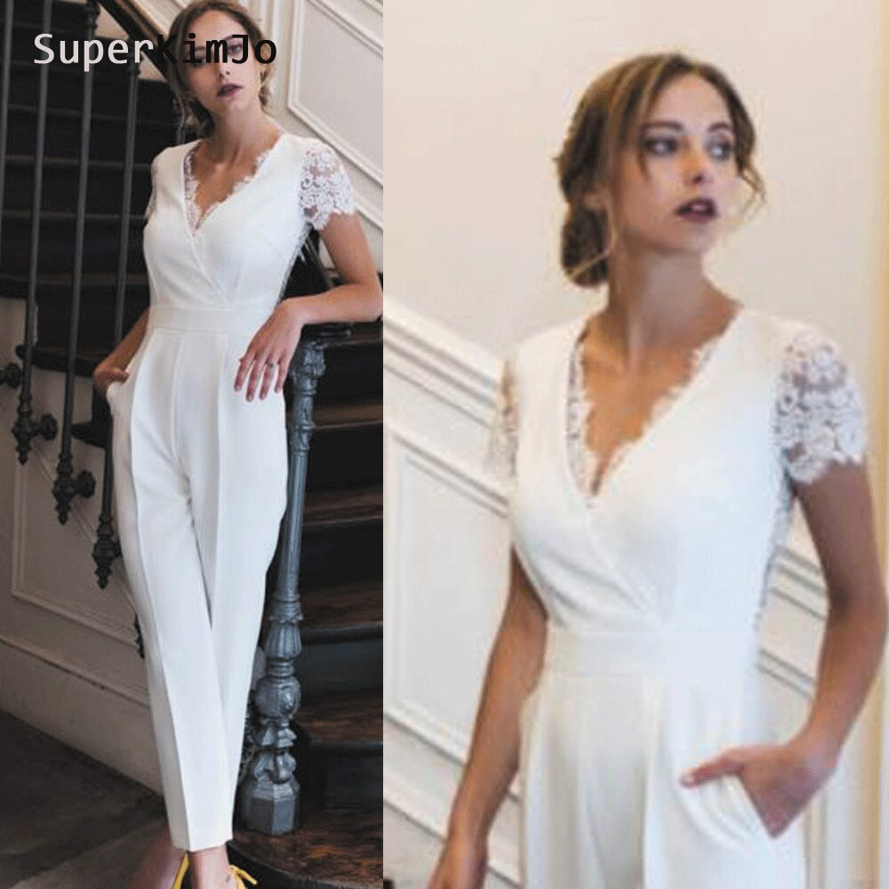 Vestidos de novia, mono con escote en v, apliques de encaje, plisado, de manga corta, blanco, vestidos de novia, vestido de fiesta
