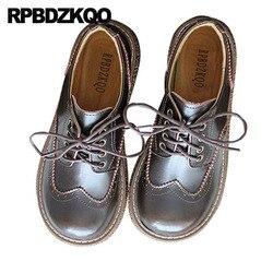 Grande ajuste sapatos senhoras japonesas mulheres confortáveis couro genuíno do vintage escola brogue apartamentos marrom chinês primavera outono rendas até