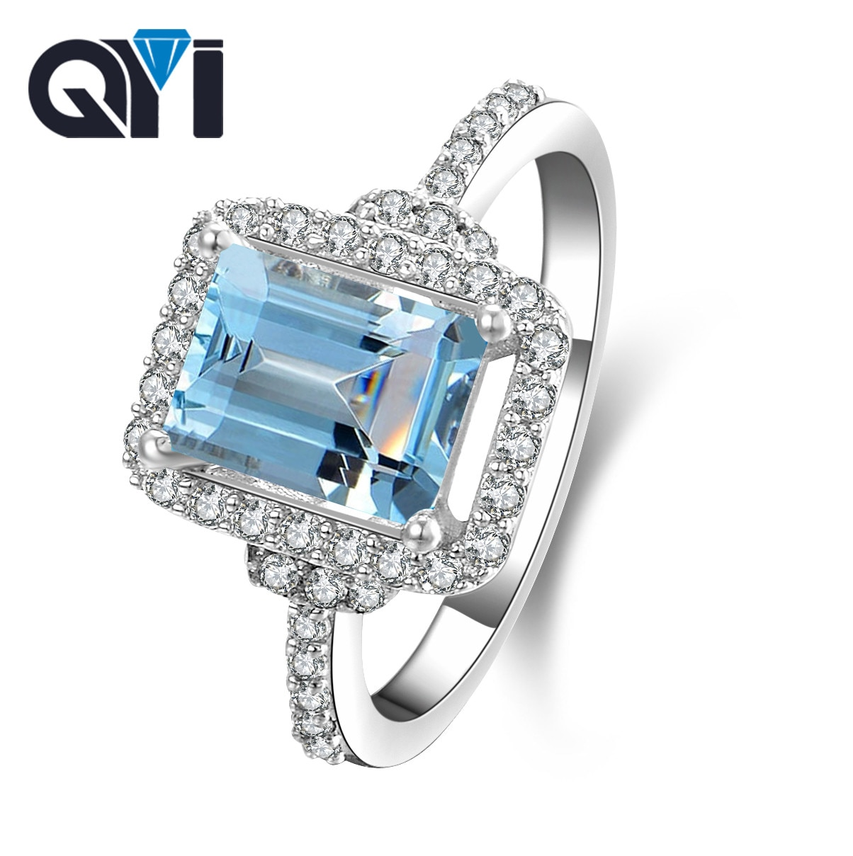 QYI anillo de topacio Natural de Plata de Ley 925 auténtica 1,5 ct, anillos de gemas naturales con corte de Esmeralda azul cielo para mujer, joyería fina