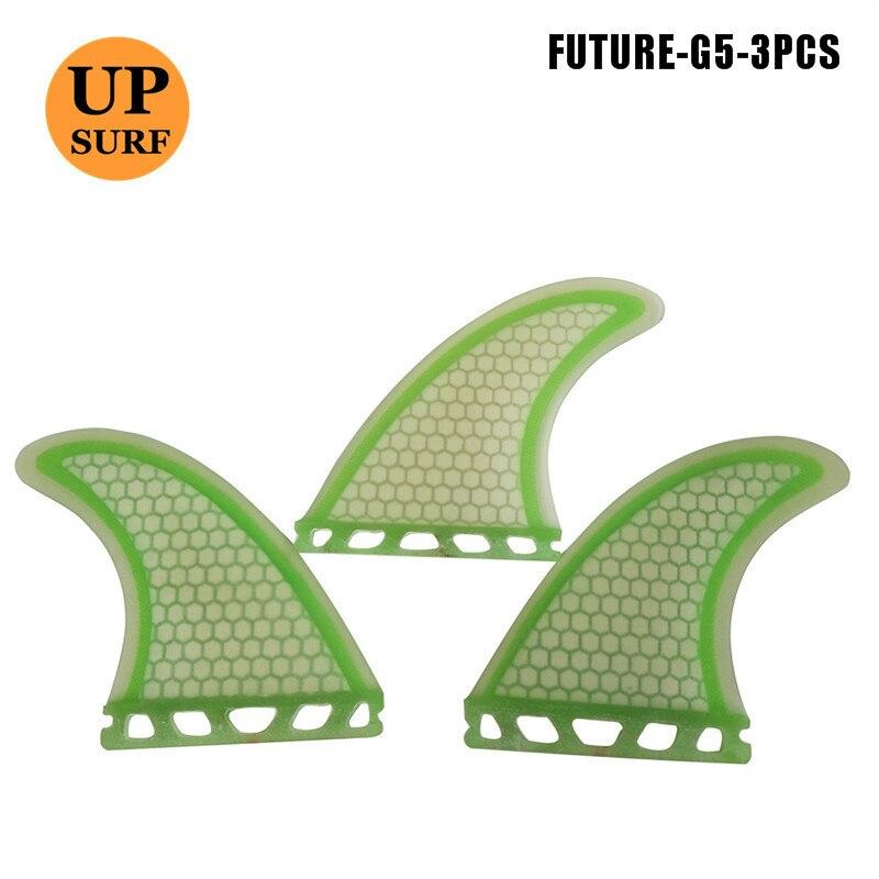 Quilla barbatanas de surf futuro g5 vermelho/verde 2 lados 1 centro fin levante-se barbatanas de prancha de remo futuro