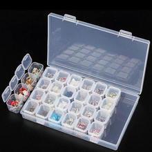 Claro 28 Slots Ajustável Caixa de Armazenamento de Jóias Caso Artesanato Organizador Caixas de Armazenamento de Jóias de Plástico